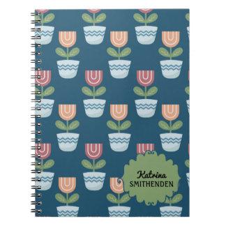 Cadernos Espiral Flores cor-de-rosa personalizadas bonitos do