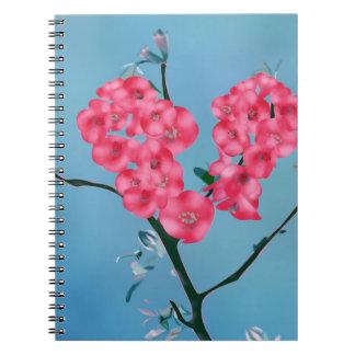 Cadernos Espiral Flores de florescência do coração