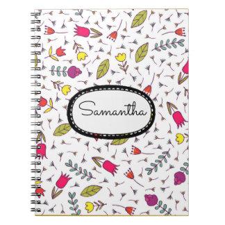 Cadernos Espiral Flores e folhas amarelas cor-de-rosa
