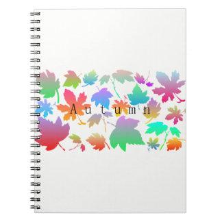 Cadernos Espiral Folhas de outono coloridas