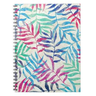 Cadernos Espiral Folhas de palmeira tropicais da aguarela