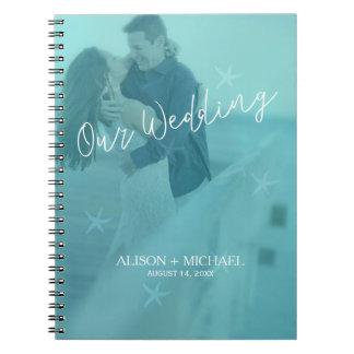 Cadernos Espiral Foto azul do casamento da estrela do mar de
