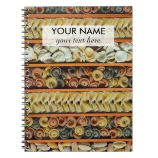 Cadernos Espiral fotografia dos macarronetes da massa