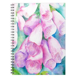 Cadernos Espiral Foxgloves cor-de-rosa da aguarela