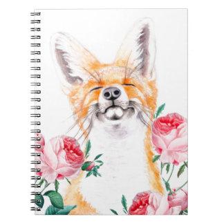 Cadernos Espiral Foxy feliz e rosas