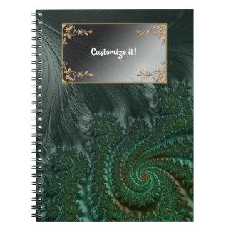 Cadernos Espiral Fractals elegantes extravagantes com padrões legal
