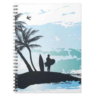 Cadernos Espiral Fundo do surfista do verão da palma