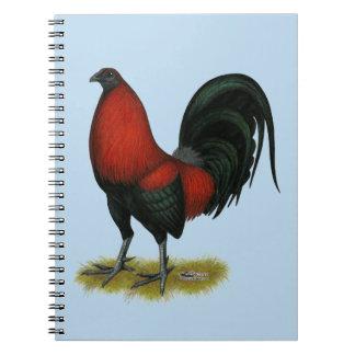 Cadernos Espiral Galo americano do vermelho do preto do BB do jogo