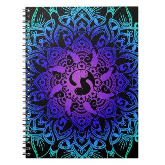 Cadernos Espiral Gato do hippy da mandala do Henna do zen