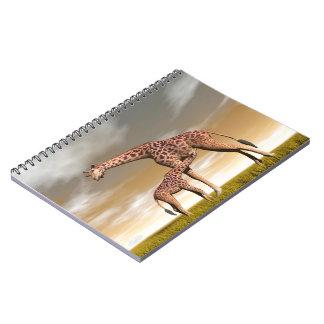 Cadernos Espiral Girafa da mãe e do bebê - 3D rendem