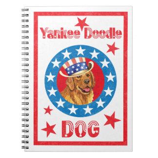 Cadernos Espiral Golden retriever patriótico
