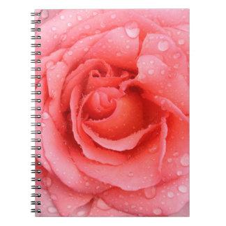 Cadernos Espiral Gotas cor-de-rosa vermelhas românticas da água