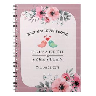 Cadernos Espiral Guestbook floral do casamento do roteiro da
