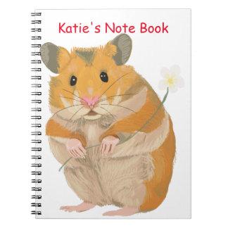 Cadernos Espiral Hamster pequeno bonito que guardara uma flor
