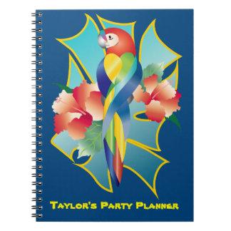 Cadernos Espiral Hibiscus alaranjado tropical Flo do papagaio