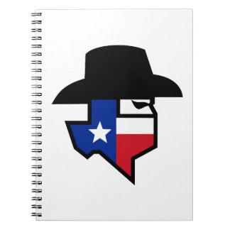 Cadernos Espiral Ícone da bandeira de Texas do bandido