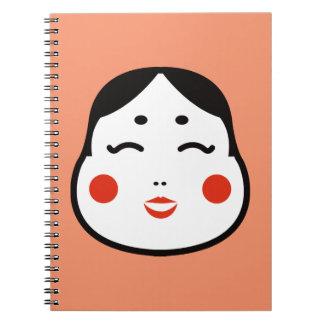 Cadernos Espiral ilustração japonesa da cara do okame dos desenhos