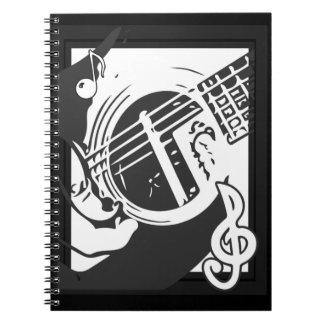 Cadernos Espiral Jogo da guitarra do melómano preto e branco
