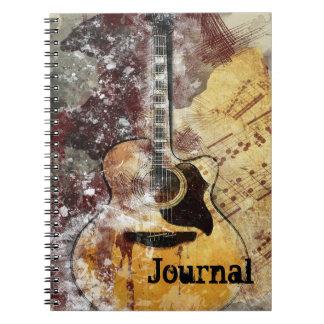Cadernos Espiral Jornal abstrato do design da guitarra