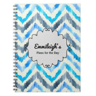 Cadernos Espiral Jornal azul e branco personalizado de Chevron