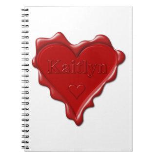 Cadernos Espiral Kaitlyn. Selo vermelho da cera do coração com
