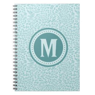 Cadernos Espiral Leopardo-Impressão do Aqua Monogrammed