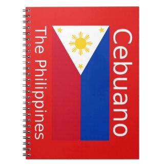 Cadernos Espiral Língua de Cebuano e bandeira de Filipinas