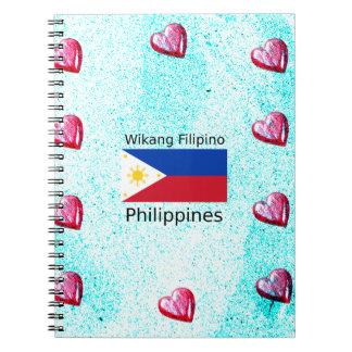 Cadernos Espiral Língua filipina de Wikang e bandeira de Filipinas