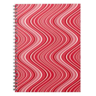 Cadernos Espiral Linhas onduladas em vermelho e no branco - ESFRIE