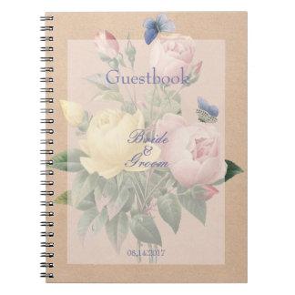 Cadernos Espiral Livro de hóspedes cor-de-rosa do casamento do