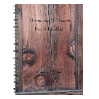 Cadernos Espiral Livro de hóspedes rústico de B&B, tapume de