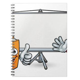Cadernos Espiral Livro e mascote e Whiteboard do lápis