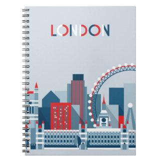 Cadernos Espiral Londres, Inglaterra skyline vermelha, branca e
