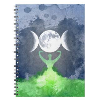 Cadernos Espiral Lua da deusa de Mãe Terra de Wiccan