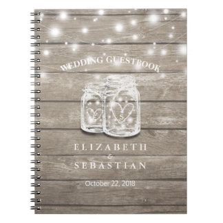 Cadernos Espiral Luzes rústicas do frasco da madeira e de pedreiro