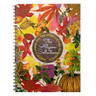 Cadernos Espiral Madeira do vintage do monograma da colagem das