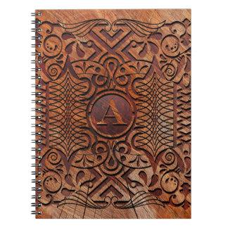 Cadernos Espiral Madeira simulada que cinzela o A-Z ID446 do