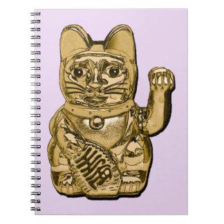 Cadernos Espiral Maneki dourado Neko