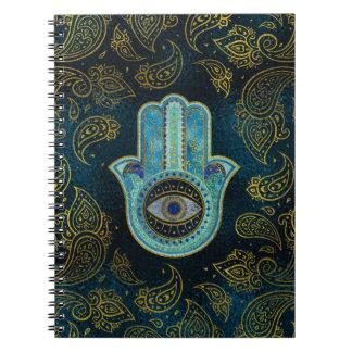 Cadernos Espiral Mão decorativa de Hamsa com fundo de paisley