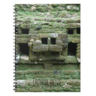 Cadernos Espiral Máscara do templo Lamanai Belize de Jaguar do Maya