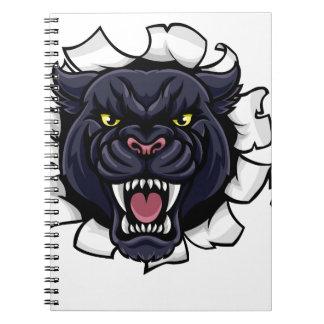 Cadernos Espiral Mascote do basebol da pantera preta que quebra o