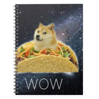 Cadernos Espiral meme do taco do espaço do doge