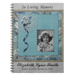 Cadernos Espiral Memorial fúnebre Guestbook personalizado da foto