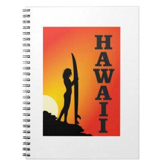 Cadernos Espiral Menina do surf de Havaí