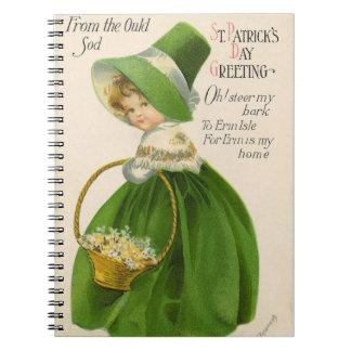 Cadernos Espiral Menina do vintage com Dia de São Patrício verde do