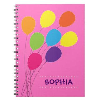 Cadernos Espiral Meninas personalizadas do balão buquê colorido