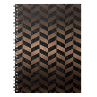 CADERNOS ESPIRAL METAL PRETO DO MÁRMORE CHEVRON1 & DO BRONZE