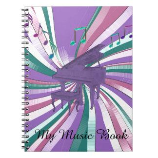 Cadernos Espiral Meu arco-íris roxo do piano da música nota o