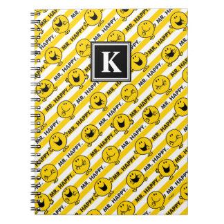 Cadernos Espiral Monograma amarelo do teste padrão | das listras do
