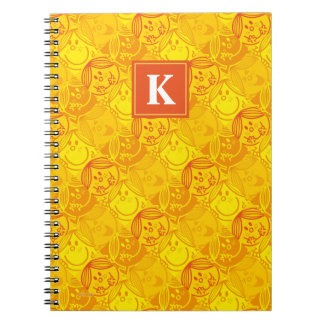 Cadernos Espiral Monograma amarelo ensolarado do teste padrão |